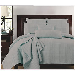 Ash Gray Box Check 3-pc. Full/Queen Quilt Set