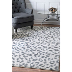 Gray Leopard Print Area Rug, 5x7