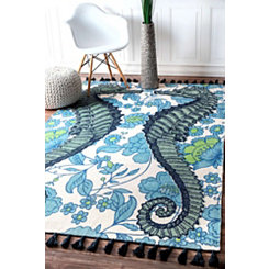 Blue Seahorse Thomas Paul Area Rug, 5x8