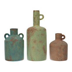 Terracotta Vases with Loop Handles, Set of 3