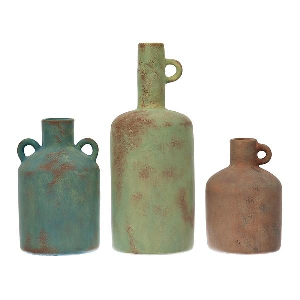terracotta vases with loop handles set of 3