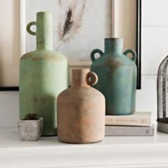 Terracotta Vases with Loop Handles, Set of 3