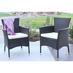 Brown Rattan Dining Chairs, Set of 2