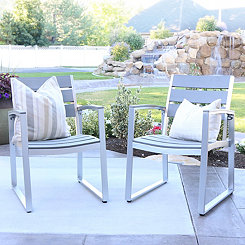 Gray All-Weather Outdoor Dining Chairs, Set of 2