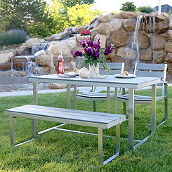 Gray All-Weather Outdoor Dining Set, Set of 4