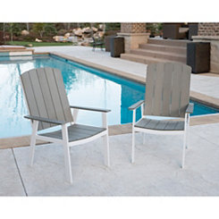 Gray Coastal Outdoor Dining Chairs, Set of 2
