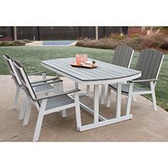 Gray Coastal Outdoor Dining Set, Set of 5