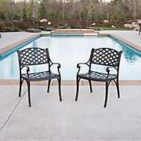 Bronze Cast Aluminum Patio Chairs, Set of 2