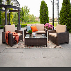 Brown Woven Wicker Patio Set, Set of 4