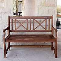 X-Back Dark Acacia Wood Folding Outdoor Bench