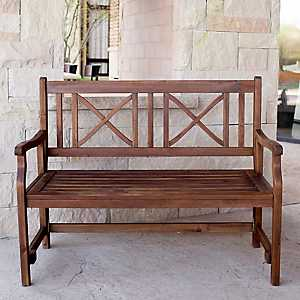 X-Back Dark Acacia Wood Folding Outdoor Bench