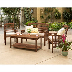 Dark Brown Acacia Wood Patio Set, Set of 4