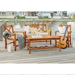 X-Back Acacia Wood Patio Set, Set of 4