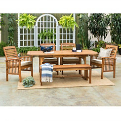 Acacia Wood Outdoor Dining Set, Set of 6