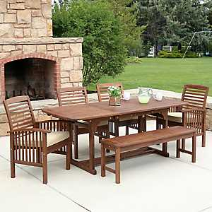 Dark Acacia Wood Outdoor Dining Set, Set of 6