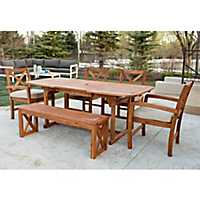 X-Back Acacia Wood Outdoor Dining Set, Set of 6