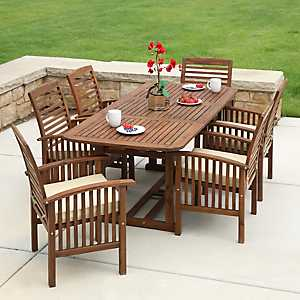Dark Acacia Wood Patio Dining Set, Set of 7