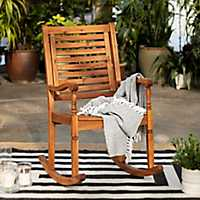 Brown Acacia Wood Rocking Chair