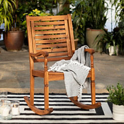 Brown Acacia Wood Rocking Chair