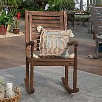 Dark Brown Acacia Wood Rocking Chair