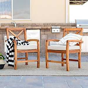 X-Back Acacia Wood Patio Chairs, Set of 2