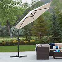 Tan Cantaliever Patio Umbrella
