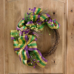 Mardi Gras Mesh Mask Half Twig Wreath