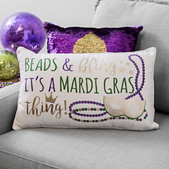 Beads and Bling Mardi Gras Accent Pillow
