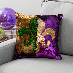 Mermaid Sequin Fleur-de-lis Mardi Gras Pillow