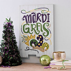 Mardi Gras Jester Hat Wood Plank Wall Plaque