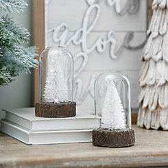Pre-Lit Cloche White Trees, Set of 2