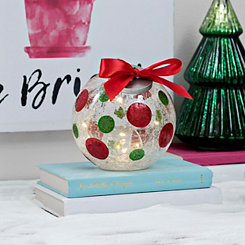 Pre-Lit Polka Dot Glass Christmas Ornament