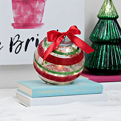 Pre-Lit Striped Glass Christmas Ornament