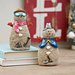 Coastal Beach Sand Snowmen Figurines, Set of 2