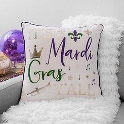 It's Mardi Gras Y'all Faux Linen Pillow