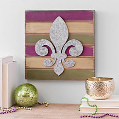 Galvanized Fleur-de-lis Striped Wall Plaque