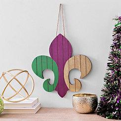 Wood Plank Striped Fleur-de-Lis Wall Hanger