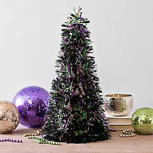 Mardi Gras Decorative Tinsel Cone Table Tree
