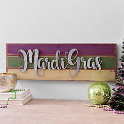 Galvanized Metal Mardi Gras Wood Plank Plaque