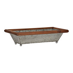 Galvanized Metal and Wood Tray