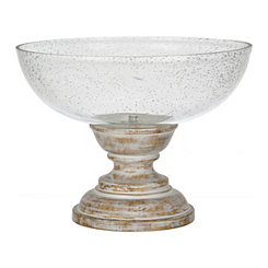 Seeded Glass Bowl on Whitewashed Pedestal