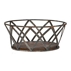Criss-Cross Metal and Wood Bowl