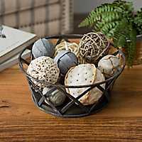 Criss-Cross Metal and Wood Bowl