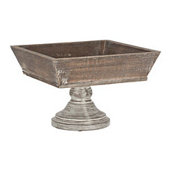 Square Wooden Bowl on Pedestal