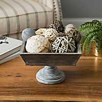 Square Wooden Bowl on Pedestal