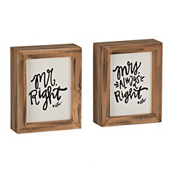 Mr. Right and Mrs. Always Right Word Block Set