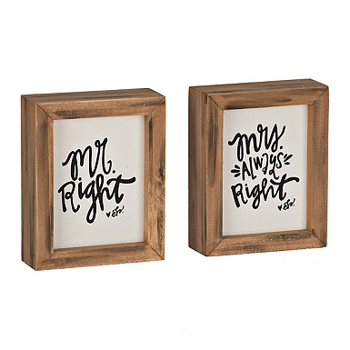 Mr  Right and Mrs  Always Right Word Block Set. Clearance   Kirklands