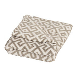 Greek Key Plush Throw