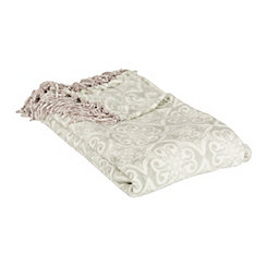 Gray Damask Fringe Throw