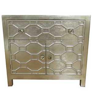 Small Antique Champagne Skylar 2-Door Cabinet